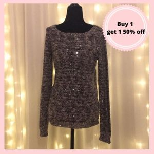 Le chateau sweater black & gold sequin sparkle